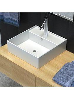 vidaXL Luksusowa umywalka prostokątna z otworem przelewowym i na kran