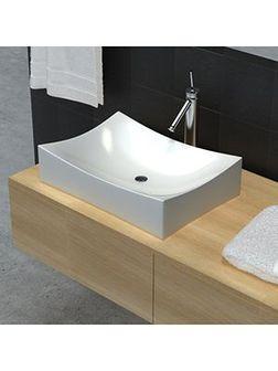 vidaXL Umywalka łazienkowa, biała porcelana nietypowy kształt