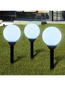 vidaXL Ogrodowe lampy solarne LED 20cm, 3szt z uziemieniem Spike