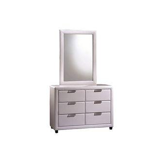 Komoda do sypialni Paolia biała z lustrem