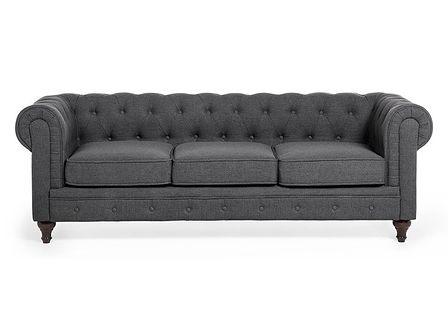 Sofa trzyosobowa tapicerowana szara CHESTERFIELD