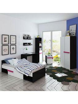 vidaXL Zestaw mebli do sypialni dziecięcej różowy z materacem 8 elem.