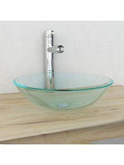 vidaXL Umywalka z bezbarwnego, hartowanego szkła 42 cm