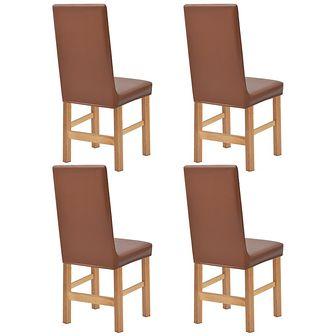 vidaXL Elastyczne pokrowce na krzesła, zamsz syntetyczny, 4 szt., brązowe