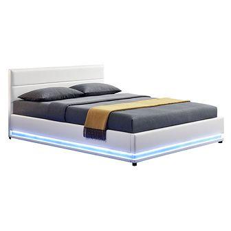 Łóżko tapicerowane Tropez 160x200 LED z pojemnikiem ekoskóra białe