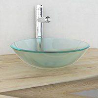 vidaXL Umywalka z matowego, hartowanego szkła 42 cm