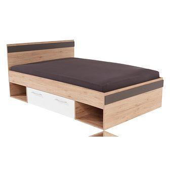 Łóżko 120 x 200 Typ 05 Box Meble Wójcik Dąb San Remo / Biel Alpejska / Biel Alpejska