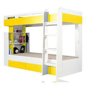 Łóżko Piętrowe z Biurkiem i Szafą MO20 Mobi Meblar Biały Lux / Żółty