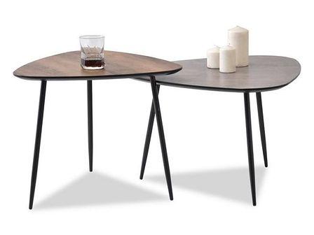 Zestaw stolików kawowych Rosin beton 68x65 cm, orzech 59x56 cm