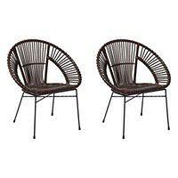 Zestaw 2 krzeseł rattanowych brązowe SARITA