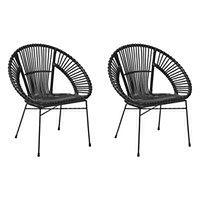 Zestaw 2 krzeseł rattanowych czarne SARITA