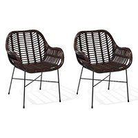 Zestaw 2 krzeseł rattanowych brązowe CANORA