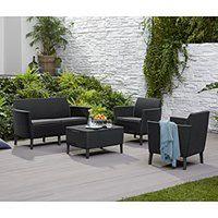 Zestaw mebli ogrodowych stylizowanych na plecione, 4-częściowy