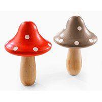 Dekoracyjne grzyby drewniane (2 szt.)