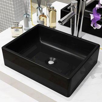 vidaXL Umywalka ceramiczna, prostokątna, 41x30x12 cm, czarna