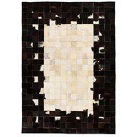 vidaXL Dywan ze skóry, patchwork w kwadraty, 120x170 cm, czarno-biały