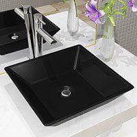 vidaXL Umywalka ceramiczna, kwadratowa, 41,5 x 41,5 x 12 cm, czarna