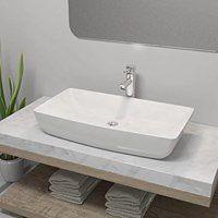 vidaXL Umywalka z baterią mieszającą, ceramiczna, prostokątna, biała