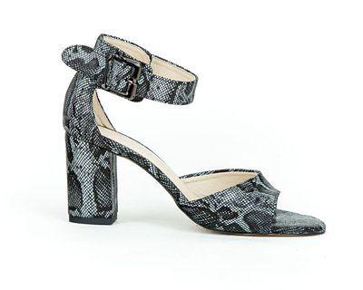 sandałki na słupku - skóra naturalna - model 348 - kolor czarny wąż