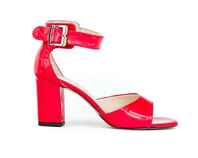 sandałki na słupku - skóra naturalna - model 348 - kolor czerwony lakier