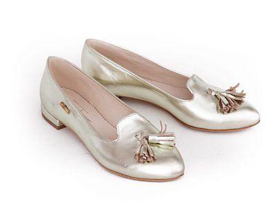 balerinki w szpic - skóra naturalna - model 045 - kolor platynowy