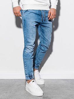 Spodnie męskie jeansowe joggery P907 - jasnoniebieskie
