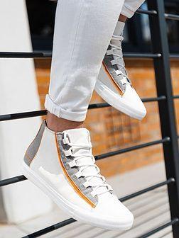 Buty męskie trampki T343 - białe