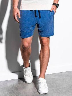 Krótkie spodenki męskie dresowe W223 - niebieskie