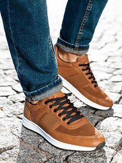 Buty męskie sneakersy T361 - brązowe