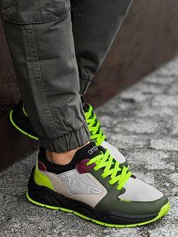 Buty męskie sneakersy T363 - oliwkowe