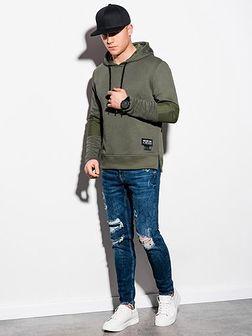 Bluza męska z kapturem B1075 - khaki