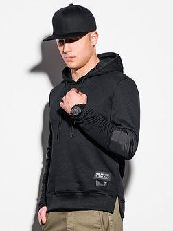 Bluza męska z kapturem B1075 - czarna