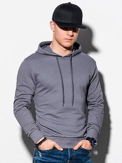 Bluza męska z kapturem z nadrukiem B1216 - szara