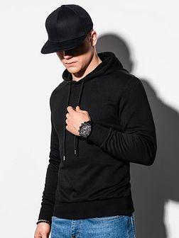 Bluza męska z kapturem z nadrukiem B1216 - czarna
