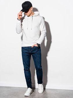 Bluza męska z kapturem z nadrukiem B1216 - biała