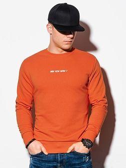 Bluza męska bez kaptura z nadrukiem B1215 - pomarańczowa
