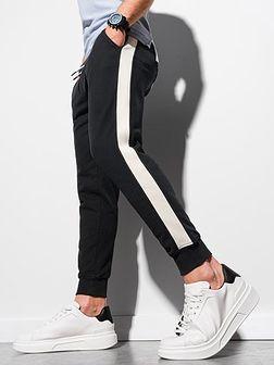 Spodnie męskie dresowe joggery P947 - czarne