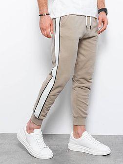 Spodnie męskie dresowe joggery P947 - beżowe