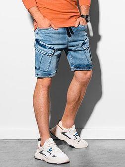 Krótkie spodenki męskie jeansowe W220 - jasny jeans