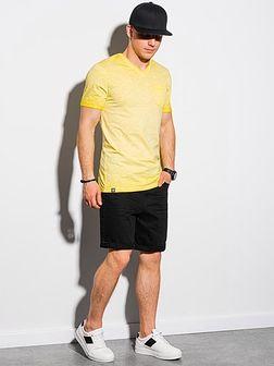 T-shirt męski bawełniany S1388 - żółty