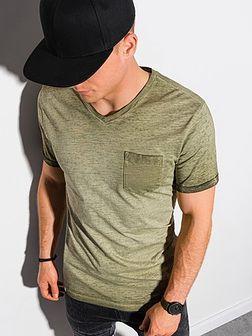 T-shirt męski bawełniany S1388 - oliwkowy