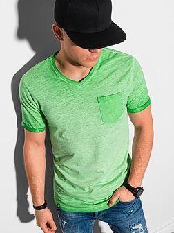 T-shirt męski bawełniany S1388 - zielony