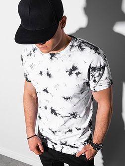 T-shirt męski bawełniany S1373 - czarny/biały