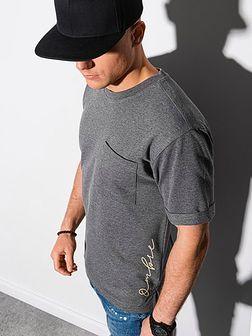 T-shirt męski z nadrukiem S1371 - czarny