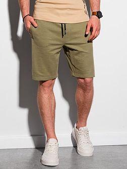 Krótkie spodenki męskie dresowe W291 - khaki