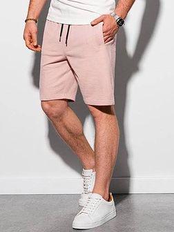 Krótkie spodenki męskie dresowe W291 - różowe