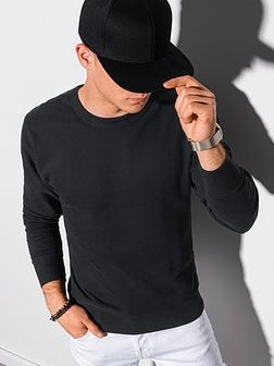 Bluza męska bez kaptura bawełniana B1146 - czarna