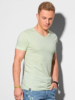 T-shirt męski bawełniany basic S1369 - limonkowy