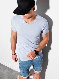 T-shirt męski bawełniany basic S1369 - jasnoszary
