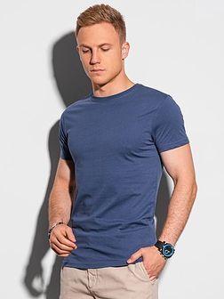 T-shirt męski bawełniany basic S1370 - ciemnoniebieski